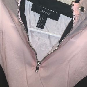 Forever 21 Jackets & Coats - baby pink, black, and white forever 21 windbreaker